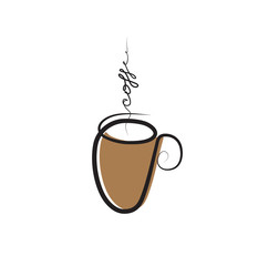 Cup of coffee drawing. Coffee logo , cafe icon. Vector clipart illustration.