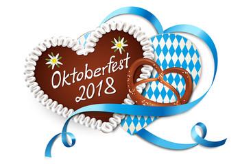Oktoberfest 2018 - Lebkuchen Herz mit Rauten Karte, Brezel und Schleife