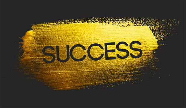 Success Text on Golden Brush Dark Background