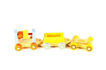 Close-up of wooden toy train