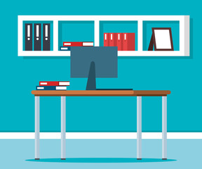 workplace office scene icons vector illustration design