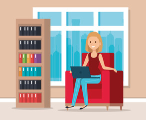woman with laptop in the library scene vector illustration design