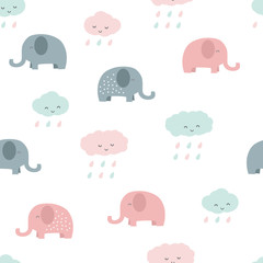 Cute adorable pastel baby elephant and cloud cartoon seamless pattern background wallpaper