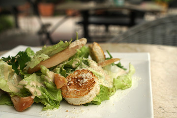 Green salad with toasted bread pieces and a chunks of chicken in a white plate,