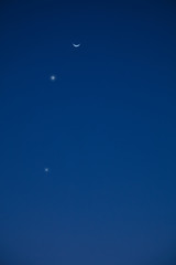 Conjuction of Moon, Venus and Mercury as seen from the southern part of Earth.