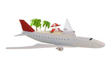 airplane flight with lounge and umbrella on sand beach island 3d-illustration