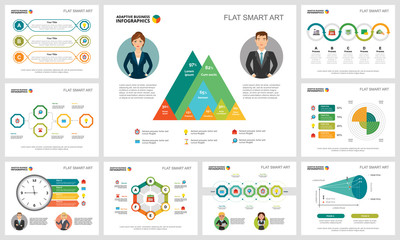 Colorful finance and research concept infographic charts set. Business design elements for presentation slide templates. Can be used for annual report, advertising, flyer layout and banner design.