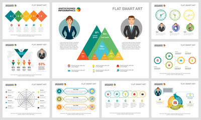 Colorful finance or management concept infographic charts set. Business design elements for presentation slide templates. For corporate report, advertising, leaflet layout and poster design.