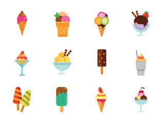 Ice Cream Icon Set. Ice Cream On Stick Ice Cream Balls Glass Bowl Disposable Cup with Dessert Ice Cream With Cherry Strawberry Dessert