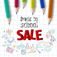 Back to school, sale lettering with color pencils. Offer or sale advertising design. Typed text, calligraphy. For leaflets, brochures, invitations, posters or banners.