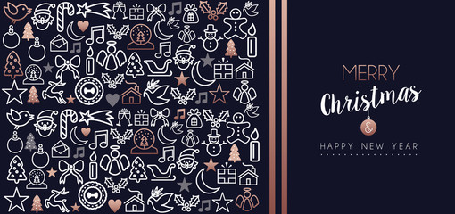 Christmas and new year copper icon set card