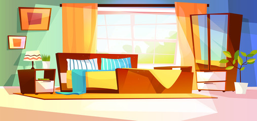 Bedroom interior vector illustration of furniture on background. Cartoon design of modern or retro room with bed, drawer with mirror and shelf, plants and lamp on carpet and window with curtains