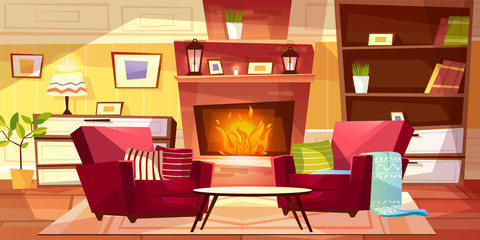 Living room interior vector illustration of cozy modern or retro apartments and furniture. Cartoon background of armchairs at fireplace, table and bookshelf with lamp on drawer