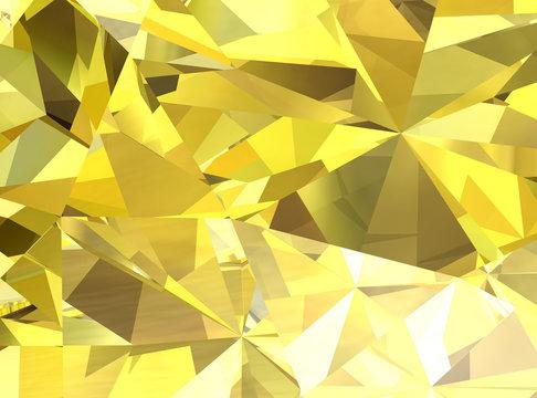 Realistic yellow diamond texture close up, 3D illustration.