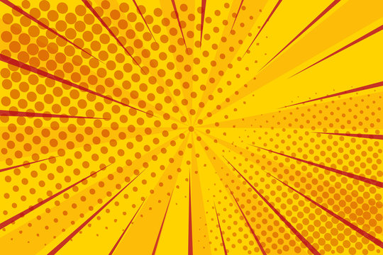 Pop art retro comic. Yellow background superhero. Lightning blast halftone dots. Cartoon vs. Vector