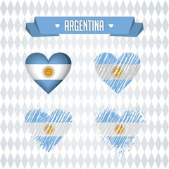 Argentina heart with flag inside. Grunge vector graphic symbols