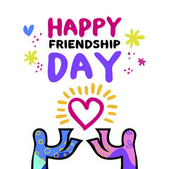 Happy friendship day art concept of friend love