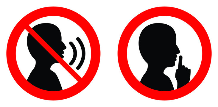 Keep quiet / silent please sign. Crossed person talking / Shhh icon in circle.