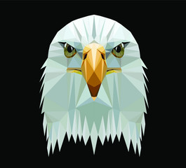 Low poly triangular  bald eagle head on dark background, vector illustration EPS 10 isolated.  Polygonal style trendy modern logo design. Suitable for printing on a t-shirt.