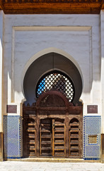 Ornate Moorish arch gate in the medina of Fes Morocco