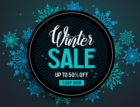 Winter sale vector banner template with colorful snowflakes elements and black empty circle for discount text in snow background for winter promotion. Vector illustration.