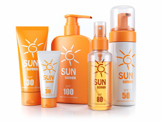 Set of sunscreens. Cream, oil and spray. 3d render