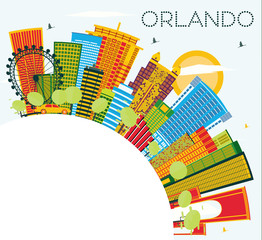 Orlando Florida City Skyline with Color Buildings, Blue Sky and Copy Space.