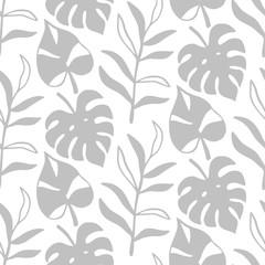 Tropical Leaves seamless pattern, modern hand drawn nature foliage