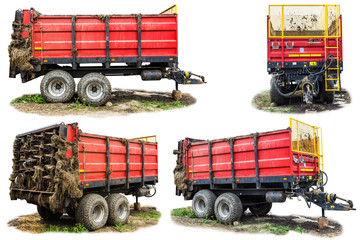 Agricultural machinery on a dairy farm. Trailer-distributor of fertilizers from cow manure and straw after working in the field. Four isolated views.