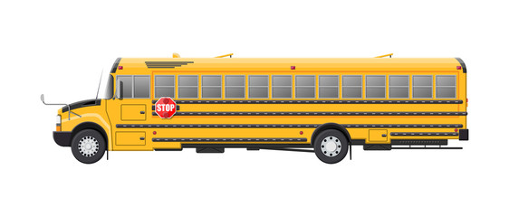 Yellow long classic school bus.