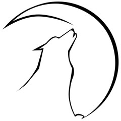 silhouette of wolf howling at the moon minimalist logo, tattoo