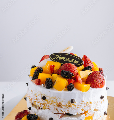 Happy Birthday Fruit CakeVintage Tone