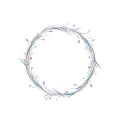 Violet and blue round wreath from grass, twigs and lilac flowers isolated on white background. Floral circle