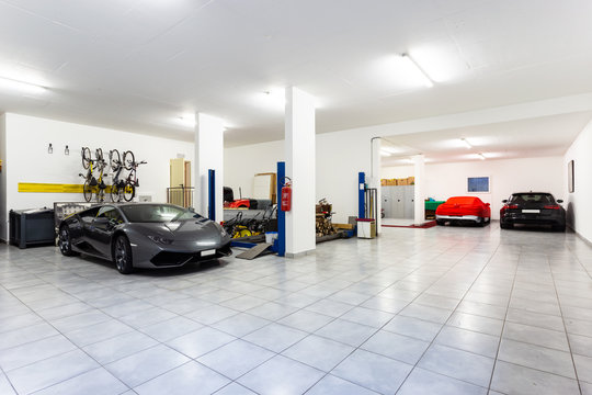Garage with luxury sports cars