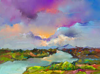 Canvas Prints Lavender Abstract oil painting landscape. Colorful blue purple sky. Oil painting outdoor on canvas. Semi abstract tree ,field, river,meadow. Abstraction Landscape nature, contemporary art for background