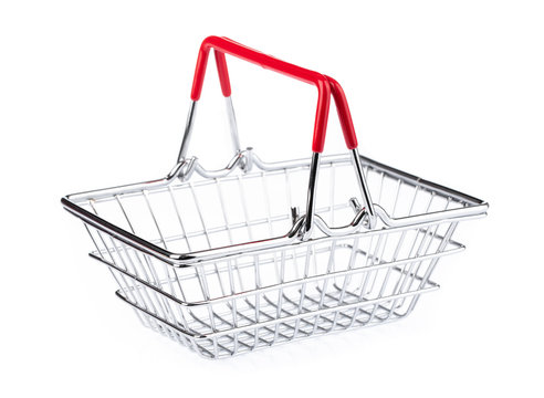 Chrome plated wire metal square empty shopping basket  isolated on white background