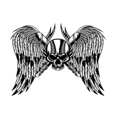 Baseball human skull with bat and wings in black and white vector illustration