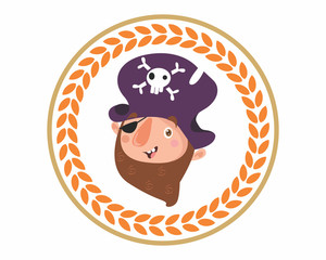 funny adorable kids head face pirate seaman sea robber sailor beard cartoon character
