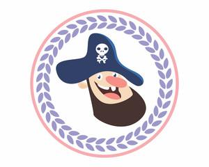 funny adorable kids head face pirate seaman sea robber sailor beard cartoon character