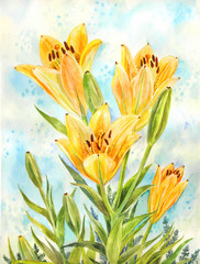 Bouquet of yellow lilies. Watercolor illustration suitable for a postcard, poster or summer background
