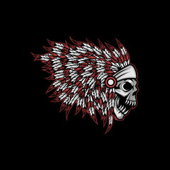 Native American indian feather headdress with human skull vector illustration