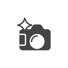 Photo camera glyph icon. Photographers tool graphic symbol. Black flat pictogram for interface and game. Button for mobile apps and sites. Vector illustration isolated on white