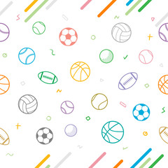 Sport theme seamless pattern background; football; baseball; volleyball; basketball