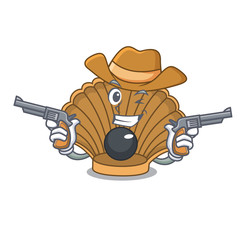 Cowboy shell with pearl character cartoon