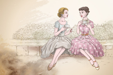 Retro women having tea together