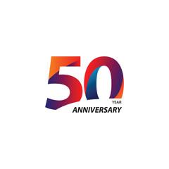 50 Year Anniversary Vector Template Design Illustration