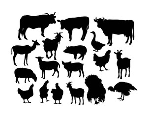 Silhouettes of Farm Animals, art vector design