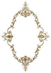 Classic moulding frame with ornament decor for classic interior isolated on white background