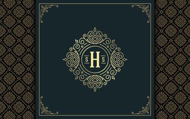 Luxury logo template vector golden vintage flourishes ornament.