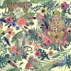 Sesmless hand drawn watercolor pattern with Ganesha, tiger, monkey, peacock, feathers, flowers.
